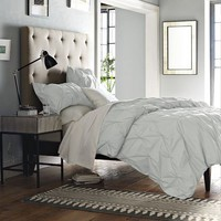 Organic Cotton Pintuck Duvet Cover + Shams - Sea Spray