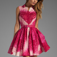 Halston Heritage Sleeve Dress With Flared Skirt and Belt in Raspberry Reflected Diamond Print from REVOLVEclothing.com