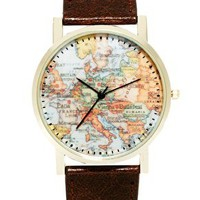 ASOS Watch With Map Print - Brown