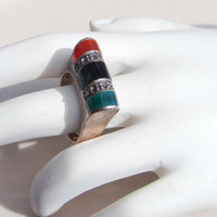 Vintage Sterling Silver 925 Tri colored Ring onyx ruby emerald