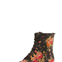 Natalie Floral Lace Up Over Ankle Boot