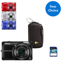 Walmart: Your Choice: Nikon COOLPIX S6300 16MP w/ 10x Optical Zoom Digital Camera Value Bundle with 4GB SD Card and Case