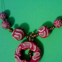 Beaded Red and White Polymer necklace