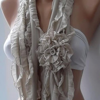by womann Super elegant Scarf - Gorgeous  Accessories...It made with good quality chiffon fabric...beige