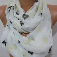 Butterfly -  Infinity Scarf Loop Scarf Circle Scarf - Elegant - It made with good quality CHIFFON  fabric