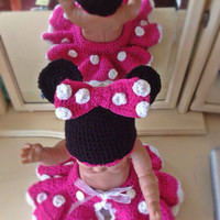 Minnie Mouse hat and nappy cover photo prop, newborn gift, reborn