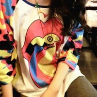 Sexy Rainbow Tongue Double-sided Print Batwing T-shirt