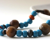 Wooden necklace - blue brown natural beaded