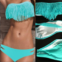 Sky blue Tassel Sexy Swimsuit