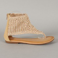 Maddy-06 Braided Ankle Cuff Thong Flat Sandal
