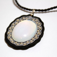 Soutache Jewelry, Soutache Necklace, Opal Pendant, Hand Embroidered Soutache Pendant with Exquisite Opal  - OOAK