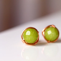 Lime green jade wirewrapped stud earrings in rose gold filled