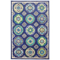 Indoor/Outdoor Tokens Blue Rug (5'3 x 7'6) | Overstock.com