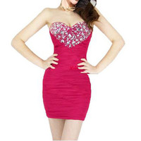 CRYSTALS Heart SEXY STRAPLESS BODYCON DRES