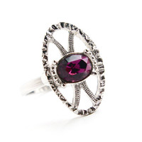 Vintage Purple Stone Ring - Signed Sarah Cov 1970s Silver Tone Adjustable Amethyst Rhinestone Costume Jewelry / Open Metal Work Shield
