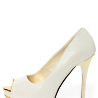 My Delicious Flight White and Gold Peep Toe Platform Pumps
