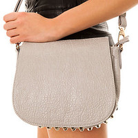 Accessories Boutique Messenger Bag Studded in Grey