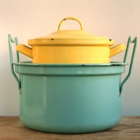 Vintage French Lemon Enamel Cooking Pot 