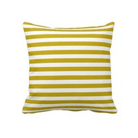 Gold and White Striped Throw Pillow from Zazzle.com