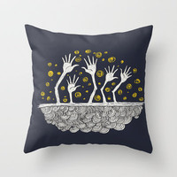 Doodle Hands Throw Pillow by sedacivan