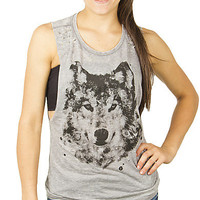 Girls Burnout Muscle 'Wolf' Tank