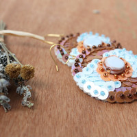 Earrings  Blue Brown Sequin embroidered felt