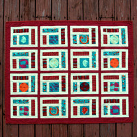 Baby Quilt Modern Burgundy Teal and Green Quilt by TwiggyandOpal
