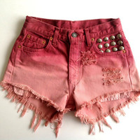 Levi high waisted denim shorts, pink red ombre with silver studs OOAK
