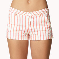 Vertical Stripe Denim Shorts