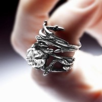 dark silver Elvish Herkimer Diamond ring twigs and by redsofa