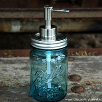 Antique Blue Ball Mason Jar Brushed Nickel by TheCountryBarrel