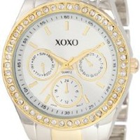 XOXO Women's XO5429 Rhinestone Accent Two-Tone Bracelet Watch:Amazon:Watches