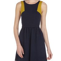 Two-Tone Bow-Back Dress, Navy/Mustard