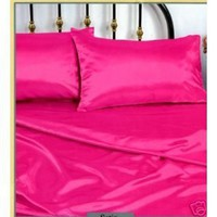 Pink Silky Queen Satin Pillowcase, Fitted and Flat Sheet Set:Amazon:Home & Kitchen