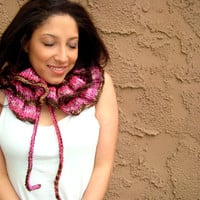 Hand Knitted Ruffled Neck Warmer - Pink Cowl - Knitted Scarf - Winter Fashion - Gift for Her
