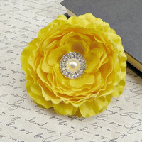 Yellow Flower Hair Clip, Bridal Hair Piece, Bridesmaid's Yellow Wedding Hair Accessory by Flower Couture