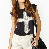 Lace Cross Muscle Tee