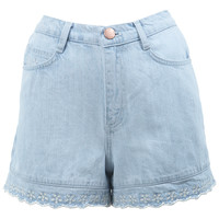 High Waist Scallop Hem Short - Shorts - Clothing - Miss Selfridge