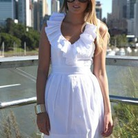 White Ruffled Halter V-Neck Dress