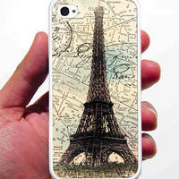 Eiffel Tower France Paris Map iPhone Case - Rubber Silicone iPhone 4 / 4s Case