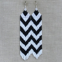 Extra Long Earrings. Chevron Earrings. Dangle Black and White Earrings. Shoulder Duster earrings. Beadwork