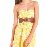 Belted Abstract Print Tube Dress: Charlotte Russe