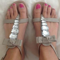 Nude bow and diamante flip flops sandals from Bellestar