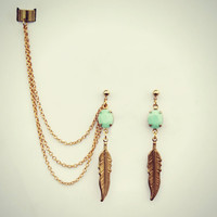 mint green and feather ear cuff, feather earrings, mint green earrings, tribal feather, gold earrings