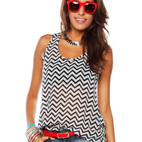 Papaya Clothing Online :: OPEN BACK CHEVRON SHEER TOP