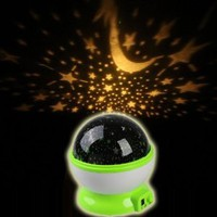 Amazon.com: Wisedeal Room Bed Side LED Night Light Lamp Rotary Flashing Starry Star Master Moon Sky Cosmos Projector House decor decorations Light (Green): Home Improvement