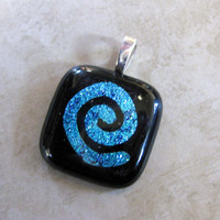 Hand Etched Dichroic Blue Spiral Pendant, Spiral Jewelry, Omega Slider, Etsy Jewelry - The Factor - 3676 -2