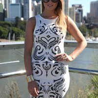 White Sleeveless Bodycon Dress with Bead Pattern Front