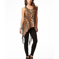 Leopard Chiffon High-Low Top