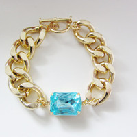 Aquamarine Blue Gem & Gold Chain Bracelet